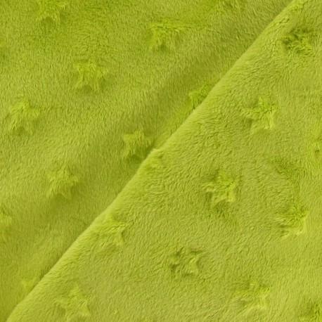 Soft relief minkee velvet Stars fabric - lime x 10cm