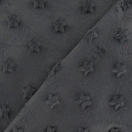 Tissu velours minkee doux relief à étoiles gris x 10cm
