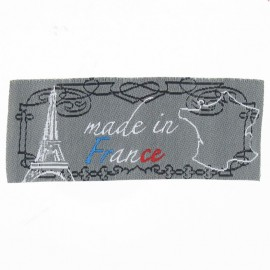 """Etiquette """"Made in France"""" gris"""