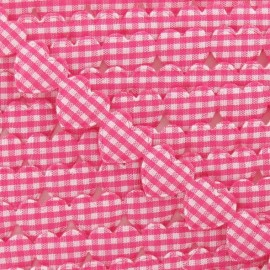 Garland Ribbon, gingham hearts - fuchsia