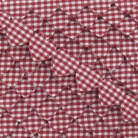 Garland Ribbon, gingham hearts - burgundy