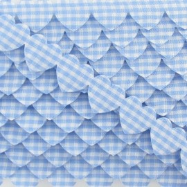 Garland Ribbon, gingham hearts - sky blue