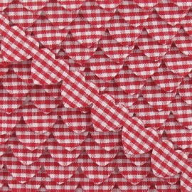 Garland Ribbon, gingham hearts - Red
