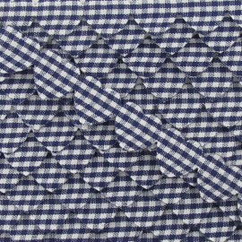 Garland Ribbon, gingham hearts - Navy blue