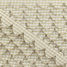 Garland Ribbon, gingham hearts - Beige