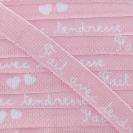 Grosgrain aspect Ribbon, saying «Fait avec tendresse» - Pink/white