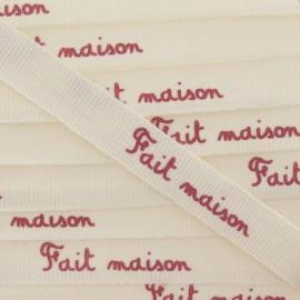 Grosgrain aspect Ribbon, saying «Fait maison » - Ecru/red