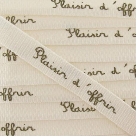 Grosgrain aspect Ribbon, saying « Plaisir d'offrir» - Ecru/beige