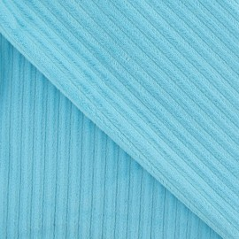 Tissu velours minkee à côtes aqua x 10cm