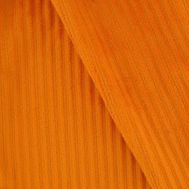 Tissu velours minkee à côtes orange x10cm