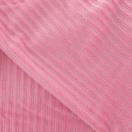 Tissu velours minkee à côtes rose x10cm