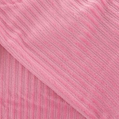 Minkee ribbed velvet fabric - pink x 10cm