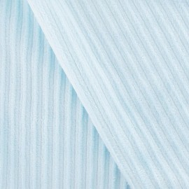 Minkee ribbed velvet fabric - sky blue x 10cm