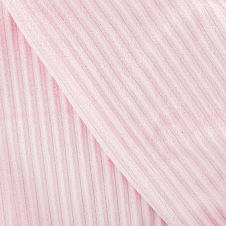 Minkee ribbed velvet fabric - dragée pink x 10cm