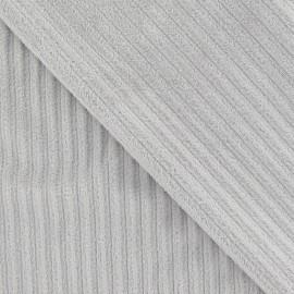 Tissu velours minkee à côtes gris clair x10cm