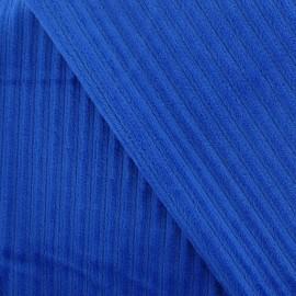 Tissu velours minkee à côtes bleu navy x10cm