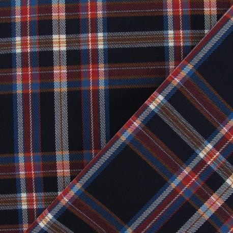 Scottish tartan Tiles Fabric - Navy x10 cm