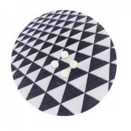 Bouton bois fantaisie 40mm triangles noir et blanc