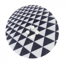 Wooden button, Fantasy 40mm, triangles - black and white