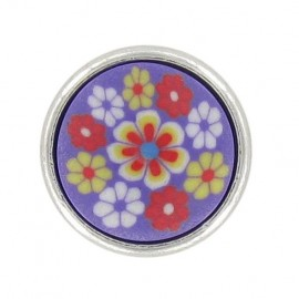 Polyester Button, Fashion, little flowers - purple