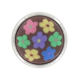 Bouton mode petites fleurs polyester marron