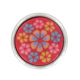 Bouton mode petites fleurs polyester rouge