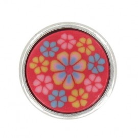 Polyester Button, Fashion, little flowers - red