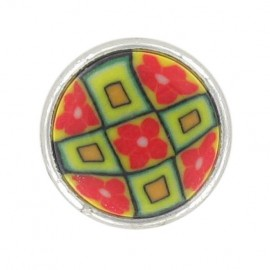 Polyester Button, Fashion, little flowers - lime
