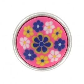 Bouton mode petites fleurs polyester rose