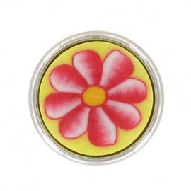 Bouton mode fleur polyester jaune