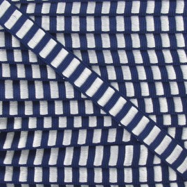Fantasy Lurex striped ribbon - navy/white