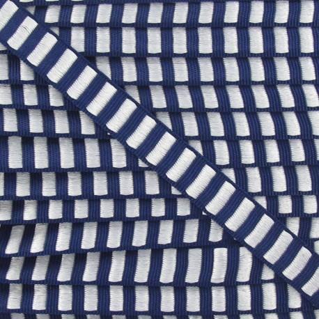 Fantasy Lurex striped ribbon - navy/white