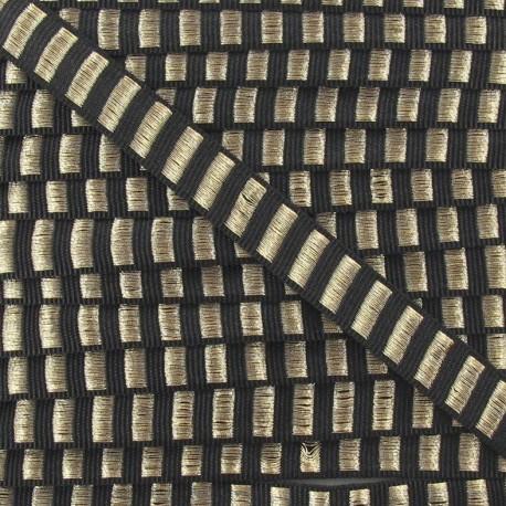 Fantasy Lurex striped ribbon - black/golden