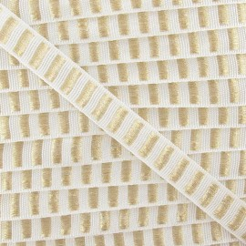 Fantasy Lurex striped ribbon - white/golden x 1m