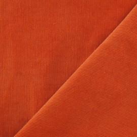 Tissu velours milleraies orange 300gr/ml x 10cm