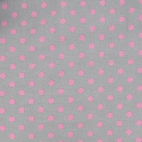 Fabric pois 6mm rose/gris clair x 10cm