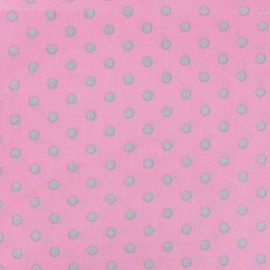 Dots 6mm Fabric - Light Grey / Pink x 10cm