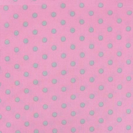 Tissu pois 6mm gris clair/rose x 10cm