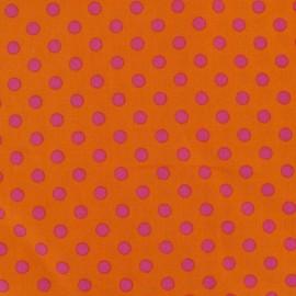 Tissu pois 6mm fuchsia/orange x 10cm