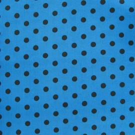 Tissu pois 6mm marron/bleu x 10cm