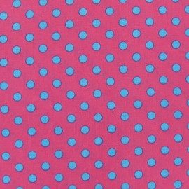 Tissu pois 6mm turquoise/fuchsia x 10cm