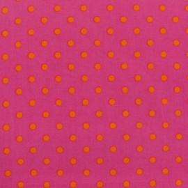 Tissu pois 6mm orange/fuchsia x 10cm