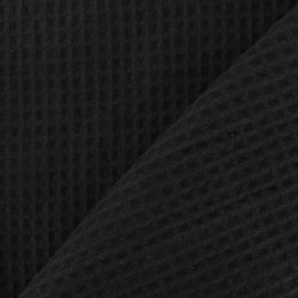 Double-sided Honeycomb towel fabric - Black x 10cm
