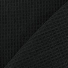 Tissu éponge nid d'abeille recto-verso noir x 10cm