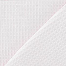 Tissu éponge nid d'abeille recto-verso rose dragé x 10cm