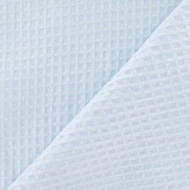 Tissu éponge nid d'abeille recto-verso bleu dragé x 10cm