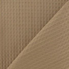 Tissu éponge nid d'abeille recto-verso châtain x 10cm