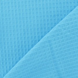Double-sided Honeycomb towel fabric - Cyan x 10cm