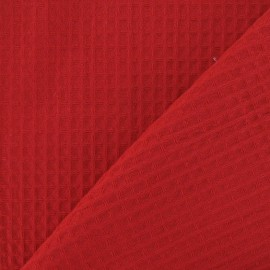 Tissu éponge nid d'abeille recto-verso rouge x 10cm