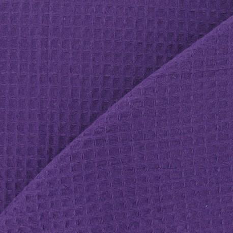 Tissu éponge nid d'abeille recto-verso violet x 10cm